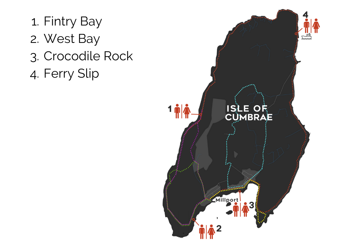 Isle of Cumbrae Toilet Locations Walking Route